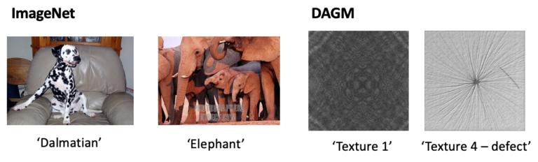 그림 3. ImageNet 데이터셋과 DAGM 데이터셋