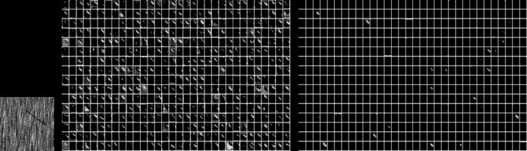 그림 9. 동일한 데이터(맨 왼쪽)가 주어졌을 때 Scratch (aug) (중간)과 Transfer learning (오른쪽)의 마지막 layer의 output feature를 시각화 한 것